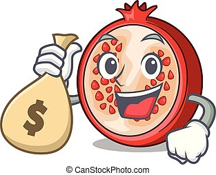 With money bag pomegranate slice isolated on character cartoon
