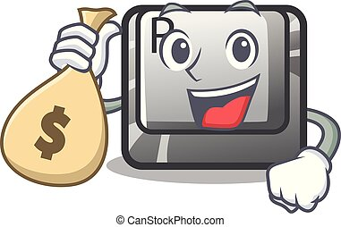With money bag R button installed on cartoon keyboard