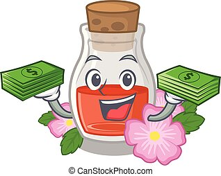 With money bag rose seed oil the cartoon shape