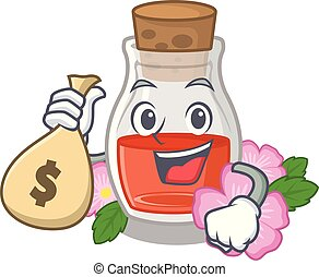 With money bag rosehip seed oil in cartoon bottle vector ...
