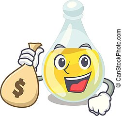 With money bag sesame oil in a cartoon bottle