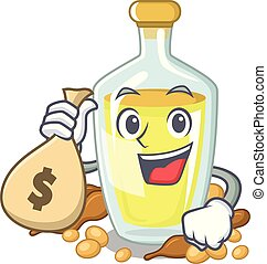 With money bag soybean oil put in cartoon bottle