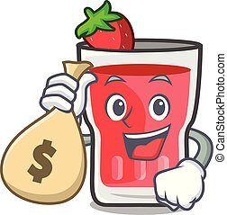 With money bag strawberry mojito character cartoon