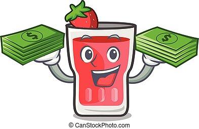 With money bag strawberry mojito mascot cartoon