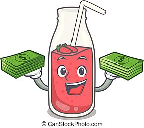 With money bag strawberry smoothie mascot cartoon