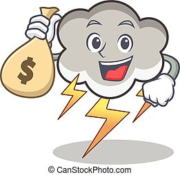 With money bag thunder cloud character cartoon vector...