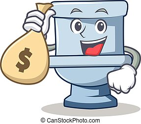 With money bag toilet character cartoon style vector...