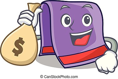 With money bag towel character cartoon style vector...