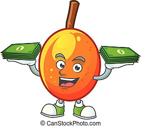 With money bag tropical jocote fruit cartoon for design