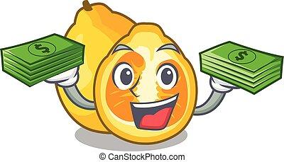 With money bag ugli fruit in the cartoon fridge vector ...