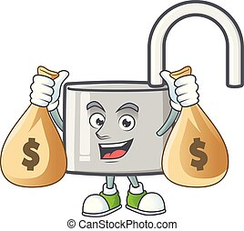 With money bag unlock key with cartoon character design.