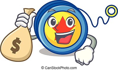 With money bag yoyo character cartoon style vector...