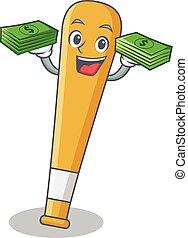 With money baseball bat character cartoon