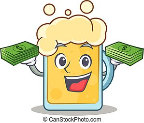 With money beer character cartoon style