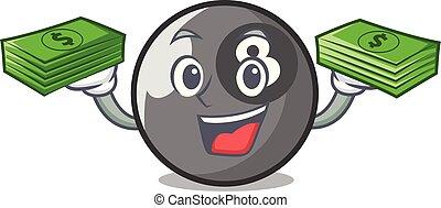 With money billiard ball mascot cartoon
