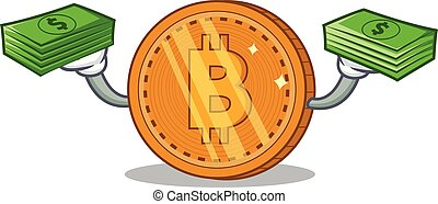 With money bitcoin coin character cartoon vector...