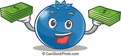With money blueberry character cartoon style