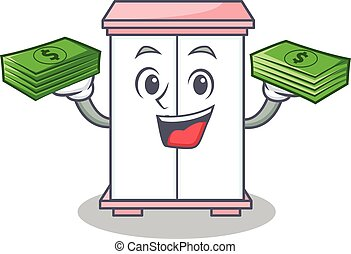 With money cabinet character cartoon style