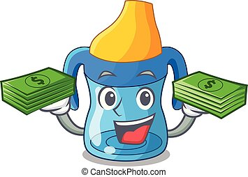 With money cartoon baby drinking from training cup