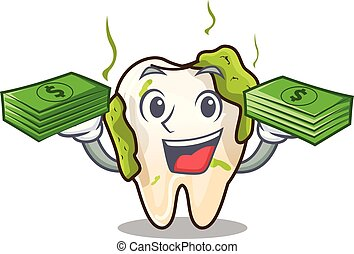 With money cartoon decayed tooth before restorative treatment