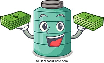 With money cartoon water tank on the tower vector...