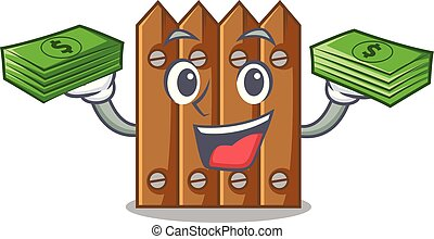 With money cartoon wooden fence over the grass