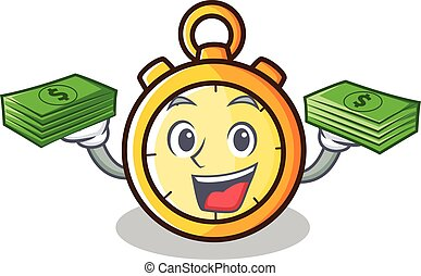 With money chronometer character cartoon style