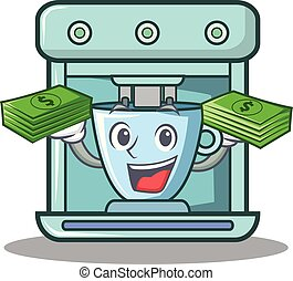 With money coffee maker character cartoon