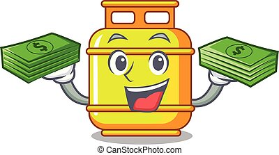With money creative in gas cartoon tank container