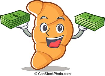 With money croissant character cartoon style