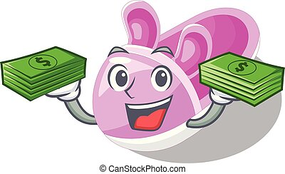 With money cute baby shoes in shape cartoon