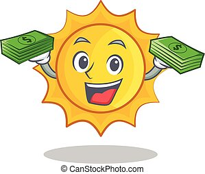 With money cute sun character cartoon