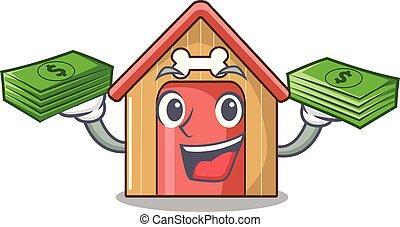 With money dog house isolated on mascot cartoon