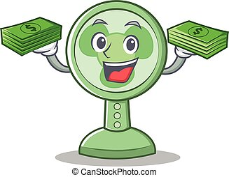 With money fan character cartoon style
