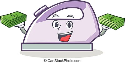 With money flat iron character vector art