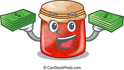 With money fresh tasty strawberry jam on mascot vector...