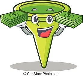 With money funnel character cartoon style