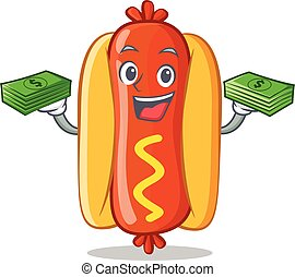 With Money Hot Dog Cartoon Character