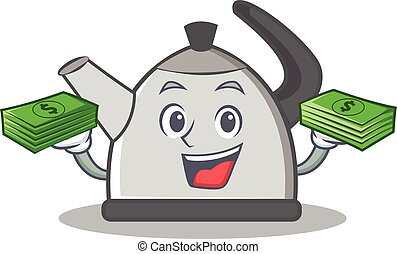 With money kettle character cartoon style vector...
