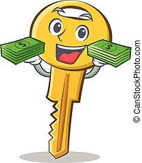 With money key character cartoon style