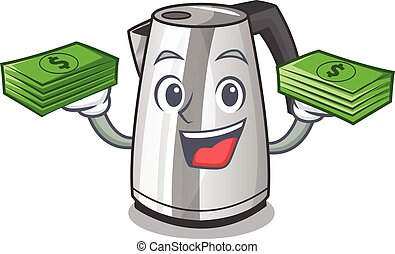 With money kitchen electric kettle on a mascot