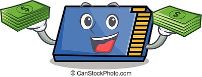 With money memory card mascot cartoon