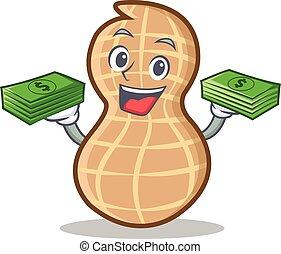 With money peanut character cartoon style