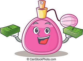 With money perfume bottle character cartoon