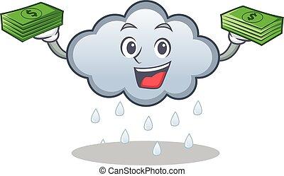 With money rain cloud character cartoon