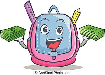 With money school bag character cartoon