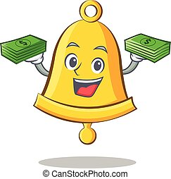 With money school bell character cartoon
