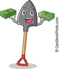 With money shovel character cartoon style