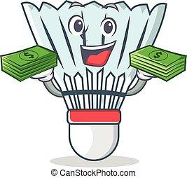 With money shuttlecock character cartoon vector