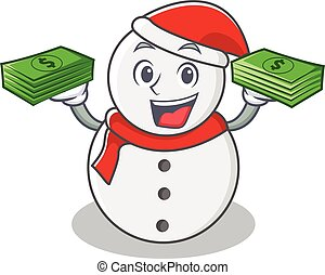 With money snowman character cartoon style vector...